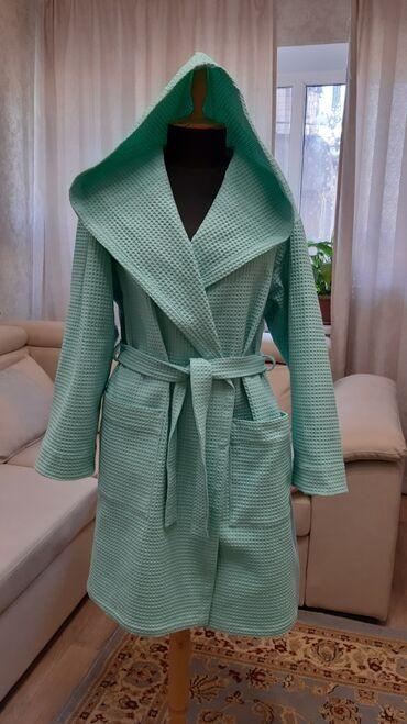 женское платье халат в Кыргызстан: Халат из 100% хлопка. Два разме S-M (светло- бирюзовый). Доставка по