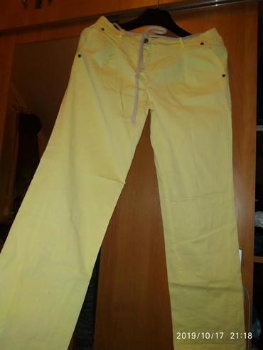 Pantalone-c-aelastin-pamuk - Srbija: Pantalone zenske Bel.xl lan pamuk NOVE PRELEPE