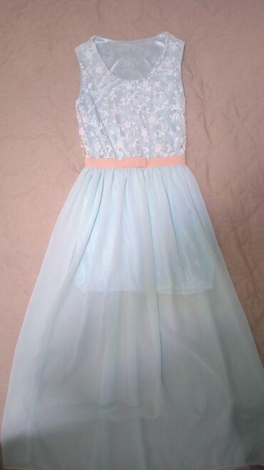 Продаётся нежно голубое платье для девочки 12-14 лет, ростом
