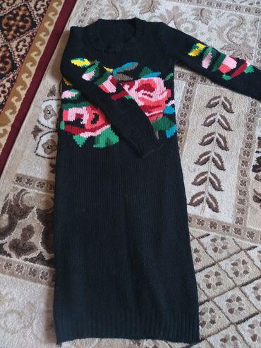 вязаное платье свободного кроя в Кыргызстан: Тёплый платья джемпер, вязаный ниже колен