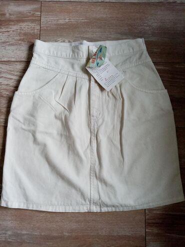 Komplet teksas suknjica visokog struka i prsluk sa etiketom, veličina