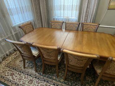 бу мебель in Кыргызстан   ШКАФЫ, ШИФОНЬЕРЫ: Стол Раздвижной  3,00 метра на 1,10метра Дуб 10 стульев