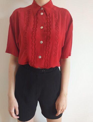 Crvena svilena košulja. S/M/L. Stanje 10/10