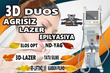 - Azərbaycan: LAZER EPİLYASİYA APARATI Duos 3D LazerFotoEpilyasiyaCavanlaşmaTattoo