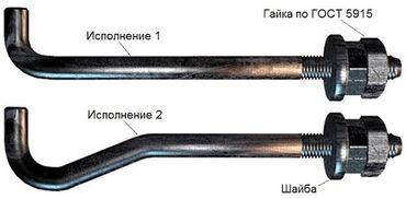 От производителя! Болты фундаментные анкерные. Тип 1.1, Тип 1.2, Тип