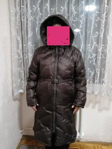 Duga zenska jakna - Srbija: Braon duga zenska jakna, VEOMA topla, obelezena velicina je XL ali naj