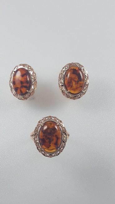 Комплект с янтарём из красного золота 585проба Размер кольца 18.0 в Бишкек