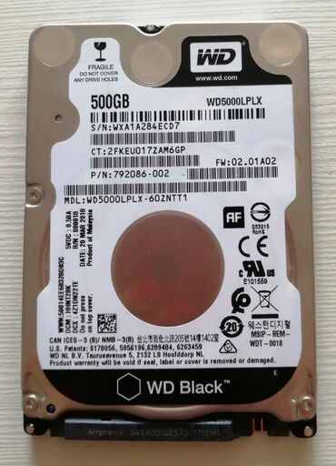 Hard diskovi | Srbija: Western Digital 500GB 2.5 SATA III 32MB 7.200rpm WD5000LPLX hard