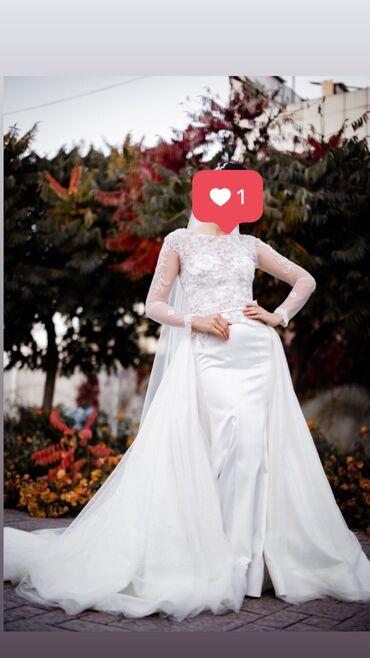 Продаю свадебное платье со съемным шлейфом и длинной фатой! Сшито на з