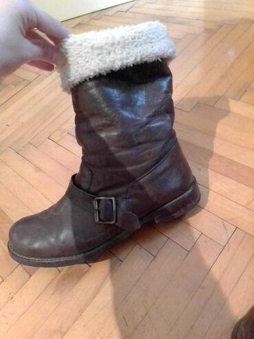 Ostalo | Vranje: Italijanske braon kožne čizme sa krznom, vel 38