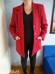 Kostim zenski, crveni, sako i suknja. Sako postavljen, suknja sa - Novi Sad