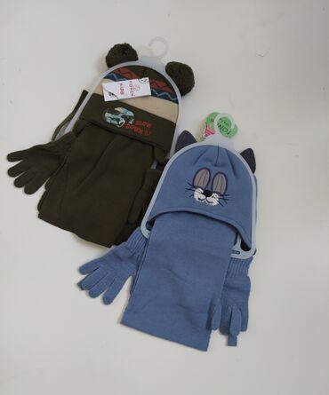 шапки и варежки в Кыргызстан: Набор шапка+шарф+перчатки. Для девочек и мальчиков. Производство