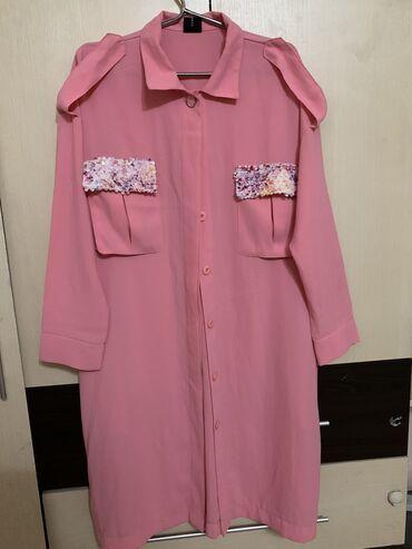 платья рубашки свободного кроя в Кыргызстан: Новое брэндовое платье рубашка,можно как накидку носить,размер