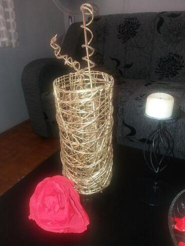 Ručna izrada. vaza sa dekoracijom izrađena od kudeljonog kanapa