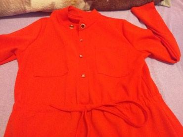Kosulja ili haljina crvena duzina do kolena strukirana - Loznica