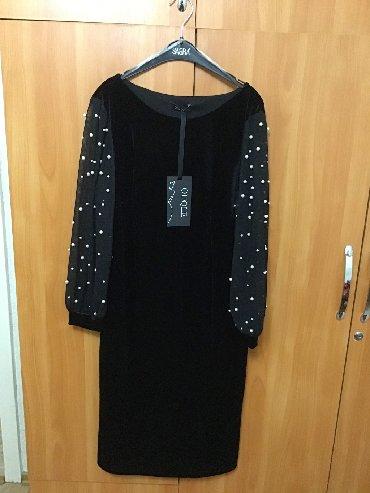 льняные вязаные платья в Кыргызстан: Чёрное велюровое платье (новое) с шифоновыми рукавами с жемчужинами Ту