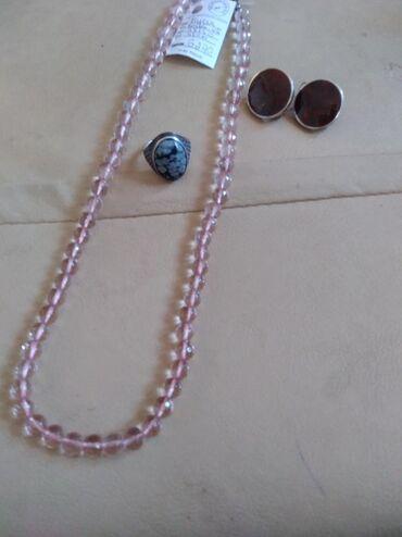 Продам серьги серебро с яшмой, Бусы из розового кварца, кольцо
