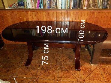 деревянный стол на кухню в Азербайджан: Продам стол деревянный длина 198 см, ширина 100 см, высота 75 см
