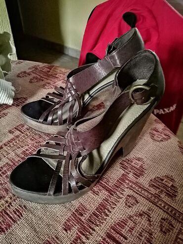 Braon kozne sandale broj pitajte - Srbija: Kozne sandale sa drvenom petom broj 39