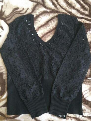Кофточка с длинными рукавами, гюпюровая чёрного цвета. 40-42 размера
