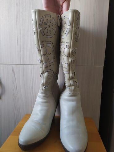 Сапоги женские зимние кожаные, размер 38, б/у, надевала всего 3-4