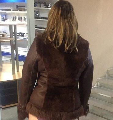 Коричневая кожаная куртка с отделкой мехом -размер 48-50 в Бишкек