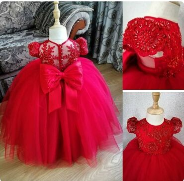 нарядные платья на свадьбу в Кыргызстан: Нарядное платье на девочку 100 см 1-2 годика ручная работа, все вышито