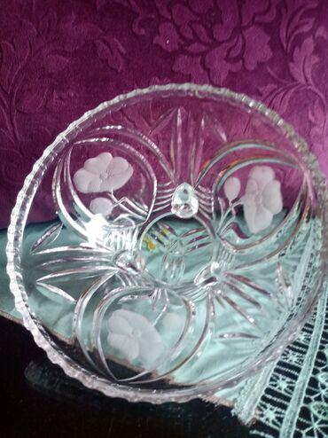 Porcelan - Srbija: Kristalna cinija sa stopama. stari nemacki porcelan. Visina