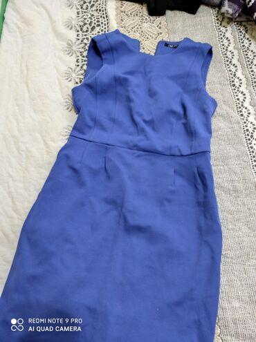 вязаное платье свободного кроя в Кыргызстан: Теплое платье трикотаж размер стандарт состояние отличноеСинее платье