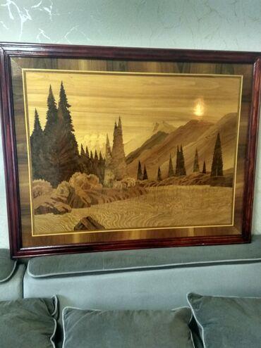 Продаю картину: природа Кыргызстана. Изготовлена из орехового капа