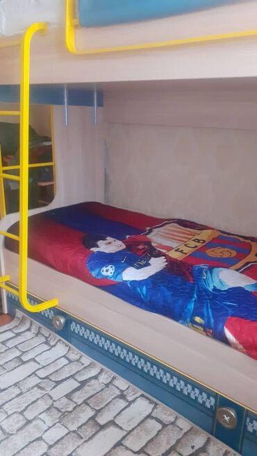 кровать трансформер детская купить в Кыргызстан: Двухъярусная кровать + матрасы +наматрасники (наматрасник