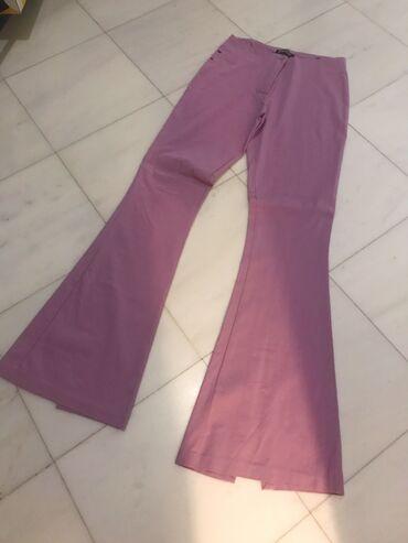 Ροζ ελαστικό παντελόνι καμπάνα