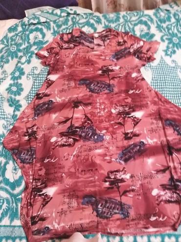 платье бохо батальных размеров в Кыргызстан: Платье в стиле бохо, трикотин,почти новое, размер 62-64, 500сом
