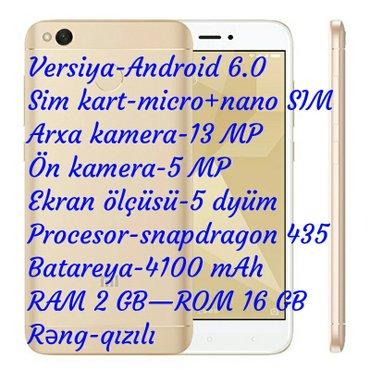 Gəncə şəhərində Xiaomi Redmi 4X 2 GB RAM 16 GB ROM  Versiya-Android 6.0  Sim kart-micr
