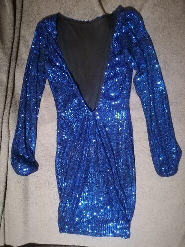 Φόρεμα με πούλιες, μπλε ηλεκτρικ,στενό και με την πλάτη έξω, one size