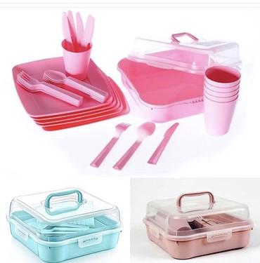 fuzhery-6-sht в Кыргызстан: Набор пластиковой посуды для пикника на 6персоны . 6. тарелок, 6