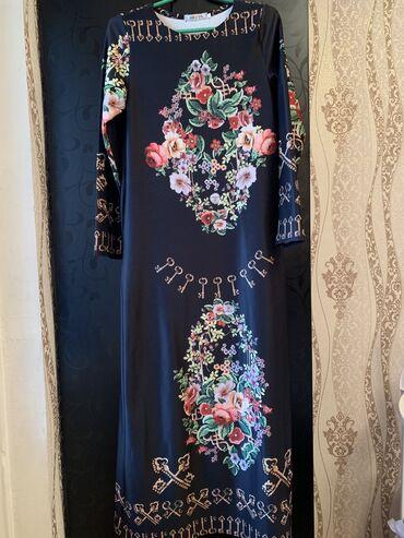платье миди в полоску в Кыргызстан: Р46-48, платье чёрное белое летнееплатье-халат в горошек (новое)п