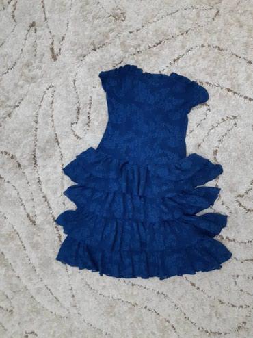 Платье короткое, синее. Надевалось 1 раз. Размер М. Цена 400с