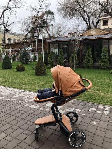 Коляски - Кыргызстан: Коляска FooFoo Vinng 2в1 экокожа коричневого цвета. Изготовлена из эко
