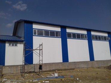 гараж из сендвич панелей в Кыргызстан: Изготовление и монтаж металлоконструкций с сендвич-панелей. сто