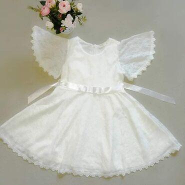 Bela haljinica od čipke sa saten.trakom u struku.i pamucnom