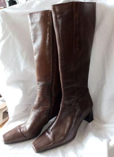 Bata braon kožne čizmeBroj 39, unutrašnje gazište 25cm.Visina pete