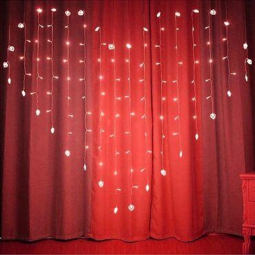 Светодиодная гирлянда-штора «Сердце» Красный 2 м
