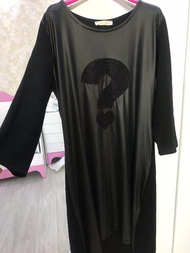 тунику платье в Кыргызстан: Продаю удлиненную тунику платье под кожу . Б/у. 500 сом . 42-44