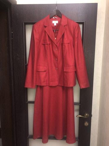 Костюм (юбка и пиджак) 48-50. 50% лен и 50% шелк . Куплен в Америки. в Бишкек