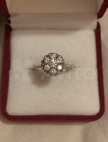 Золотое кольцо малинка с бриллиантами 585проба жёлтого золота Вес