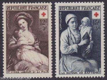 Марки в Азербайджан: FRANSA * 1953 il * 2 MARKA * MNHФРАНЦИЯ * 1953 год * 2 марки *