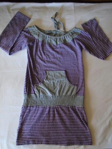L tunika na - Srbija: Zanimljiva pamučna haljina/tunika sa elastičnim pojasom na kukovima, L