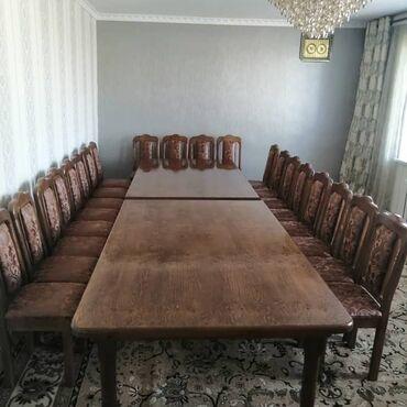 Комплекты столов и стульев - Кыргызстан: Стол со стульями (20 штук) размер стола 1.2 на 4 метра. Материал кара
