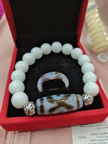 Ручная работа браслет с камнем дзи и агат+кольцо!Натуральная
